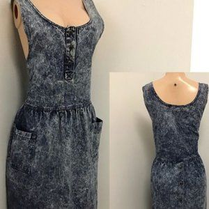 Vintage 80s stone wash denim overall dress 10/12